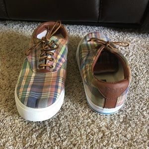 POLO by Ralph Lauren plaid sneakers. Part leather